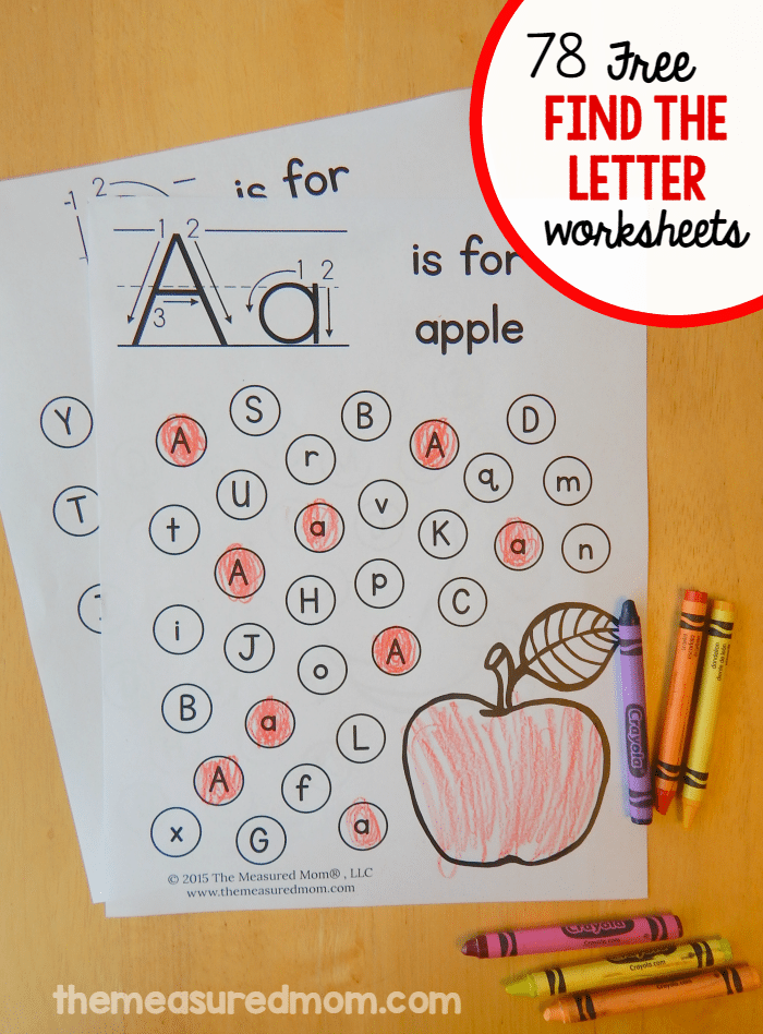 Free find the letter alphabet worksheets The Measured Mom – Free Alphabet Worksheets