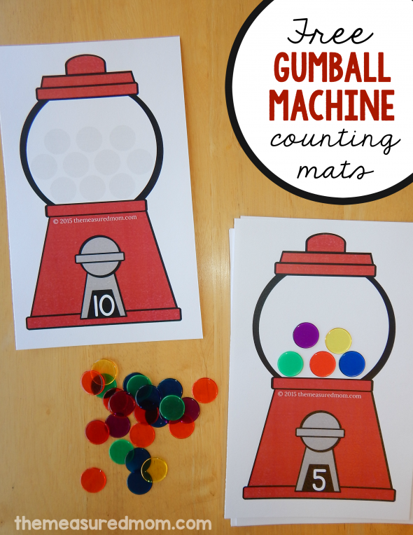 Print these fun gumball math mats for practice with counting and one-to-one correspondence!