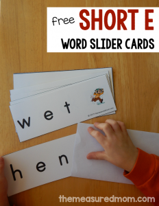 Practice sounding out short vowels with word slider cards