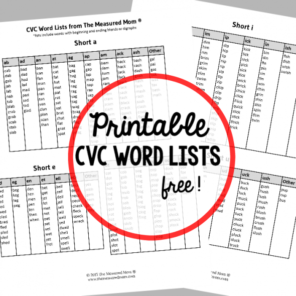 Free printable CVC word list - The Measured Mom