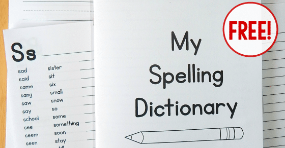 Printable Spelling Dictionary for Kids - The Measured Mom
