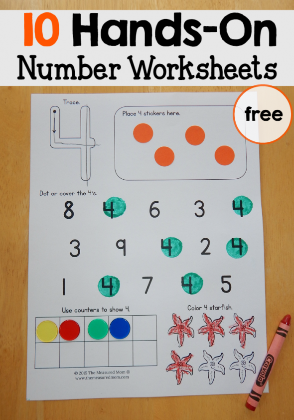 Printable Worksheets kindergarten number worksheets 1-10 : Free number worksheets 1-10 - The Measured Mom