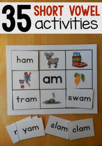 35 Hands-on reading mats for short vowels