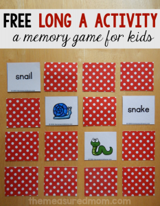 Free long a game for beginning readers and spellers