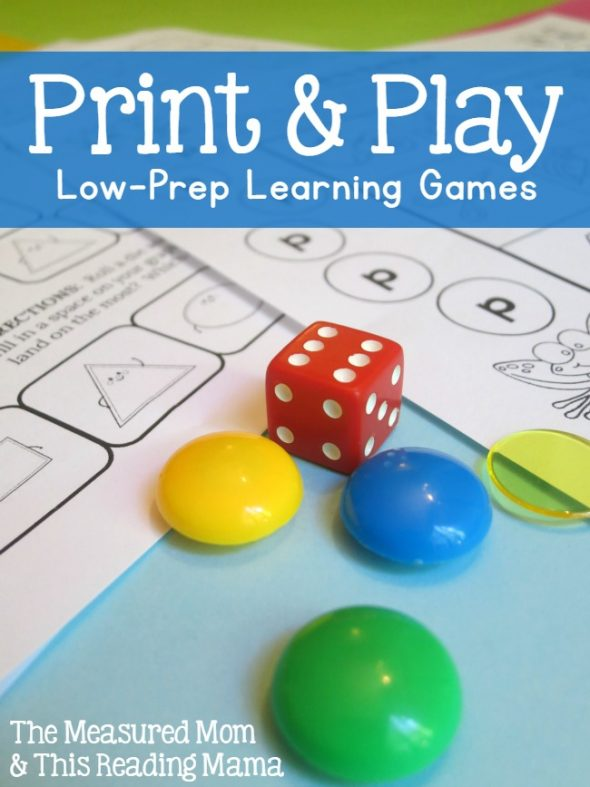 print and play low pre learning games