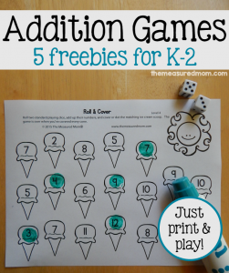 Free addition games for K-2