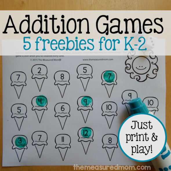 5 free addition games for K-2 square image