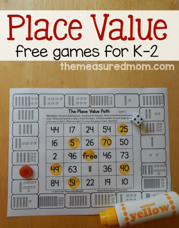 graphic about Printable Place Value Game referred to as Cost-free stage importance game titles for K-2 - The Calculated Mother