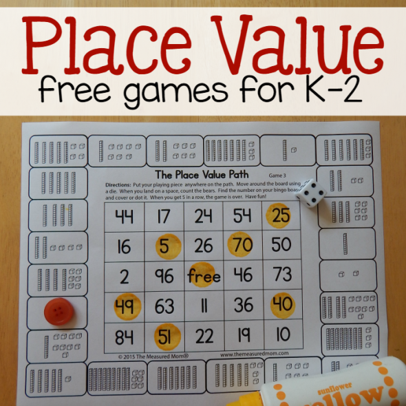 Free place value games for K-2 - The Measured Mom