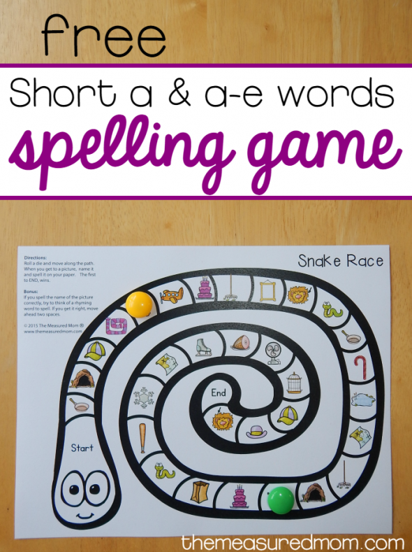 free short a and a-e spelling game