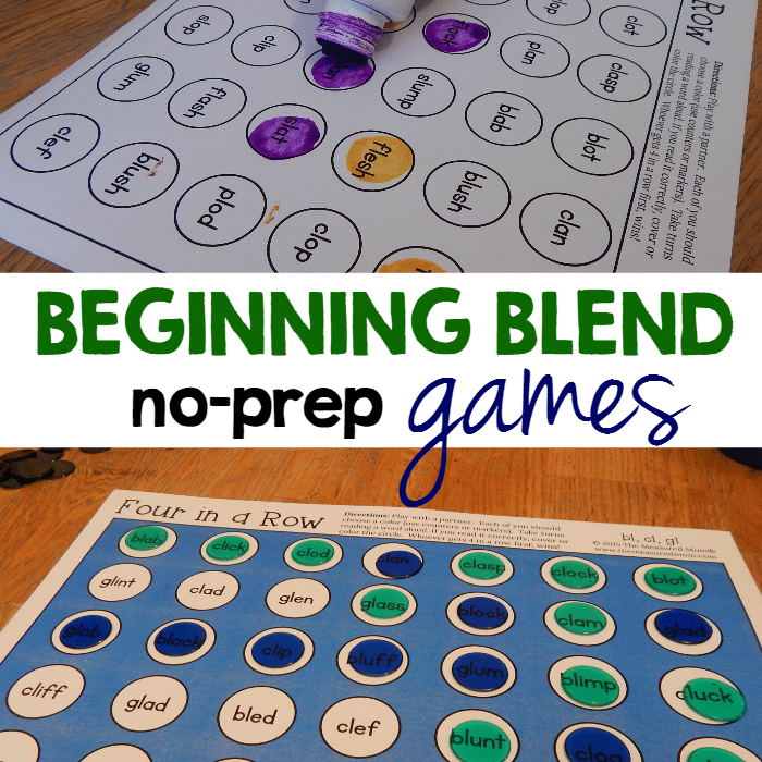 No-prep games for teaching beginning blends - The Measured Mom