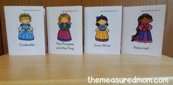 Print these four princess sight word books for your early reader!
