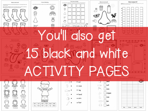 you'll also get 15 black and white activity pages