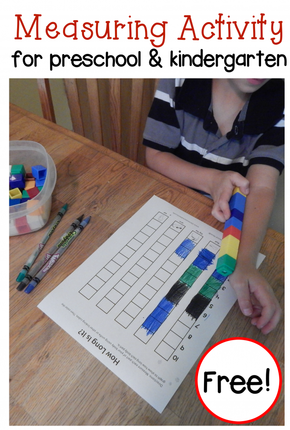 Free measuring activity for preschool and kindergarten