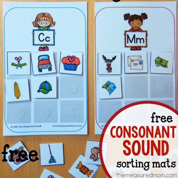 consonant sounds sorting mats square image