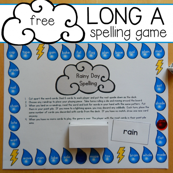 free long a spelling game square image
