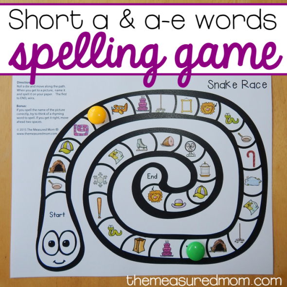 free short a and a-e spelling game square image