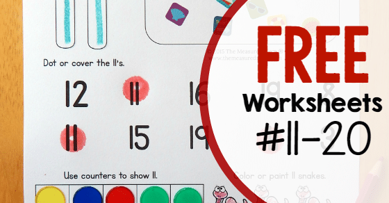 Free worksheets for numbers 1120 The Measured Mom – Numbers 11-20 Worksheets