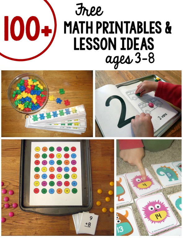over 100 free math printables for kids