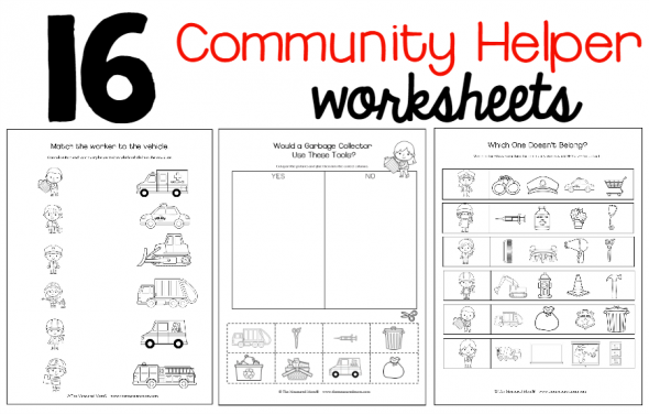 New Community Helpers Theme Pack The Measured Mom – Community Helpers Worksheet Kindergarten