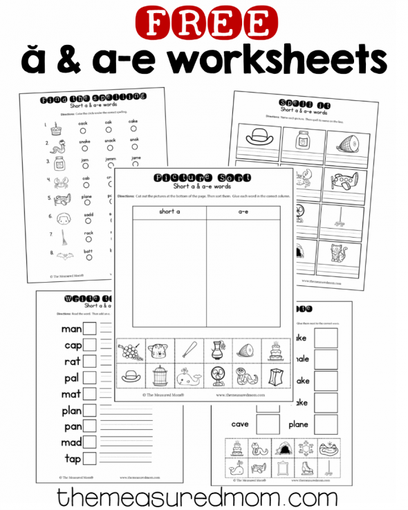 10 Free short a & a-e worksheets - The Measured Mom