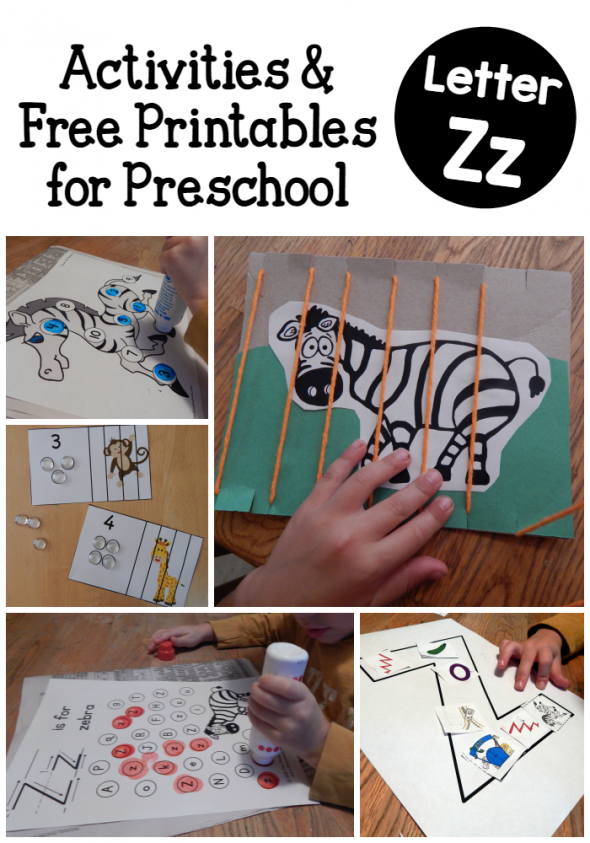 Letter Z activities for preschool