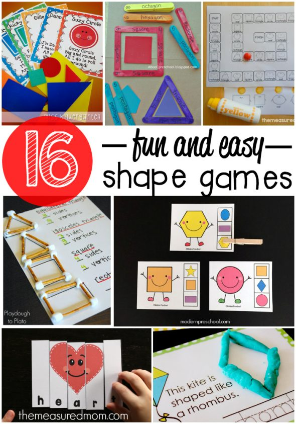 We've got 16 fun shape games for toddlers and preschoolers!