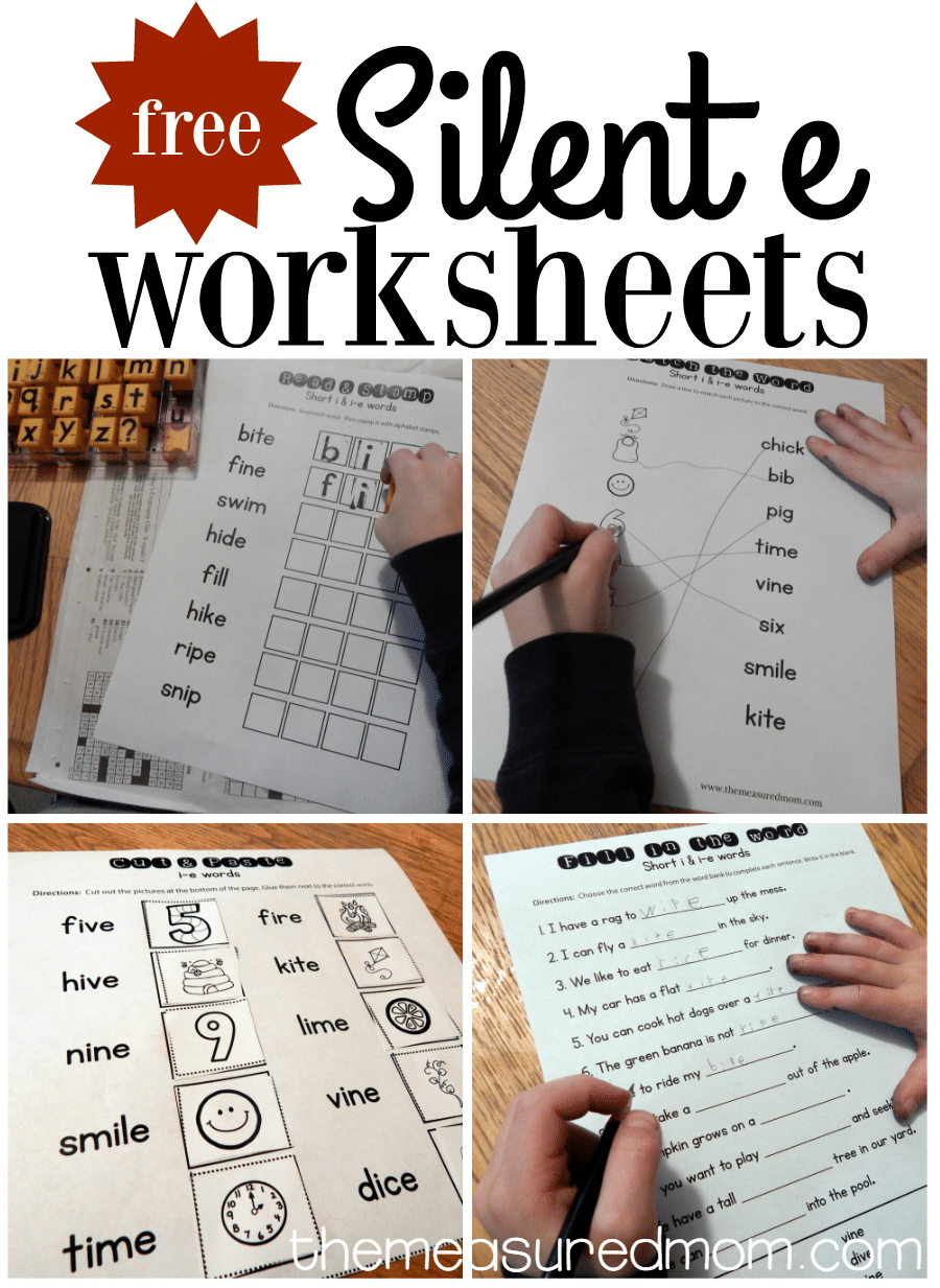 Free Silent E Worksheets I E on simple rhyming words for kindergarten