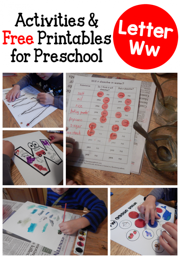 letter W activities for preschool