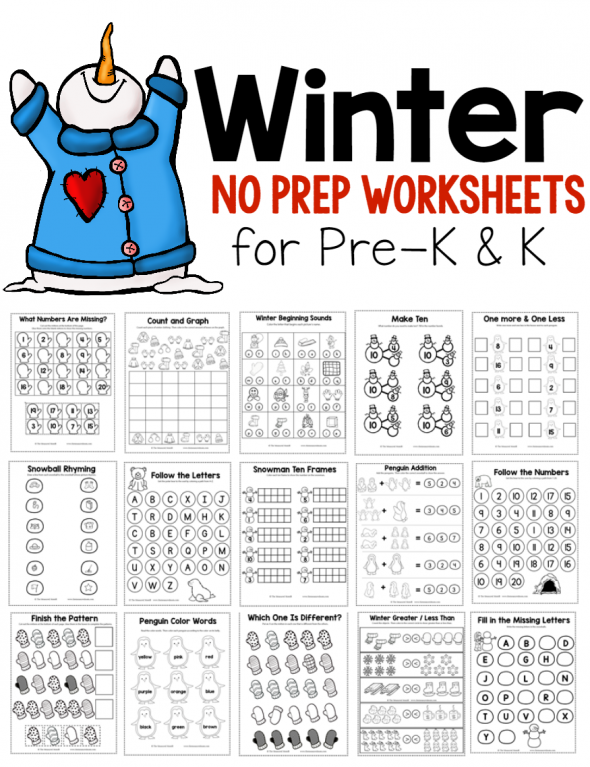 New Winter Theme Pack for Preschool Kindergarten The – Penguin Worksheets for Kindergarten