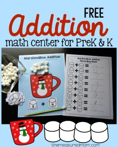Free preschool & kindergarten addition activity