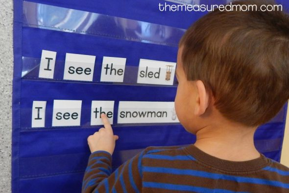 These winter pocket chart sentences are perfect for kids just learning to read - and they're FREE to download! They're great for learning winter vocabulary, too!
