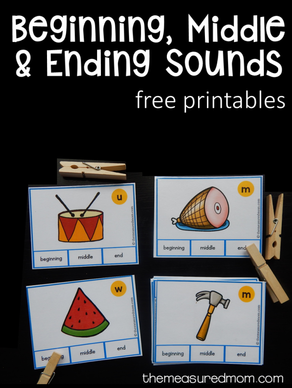 free beginning middle and ending sound clip cards the measured mom