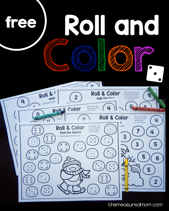 Get five free winter roll and color games for preschool and kindergarten!