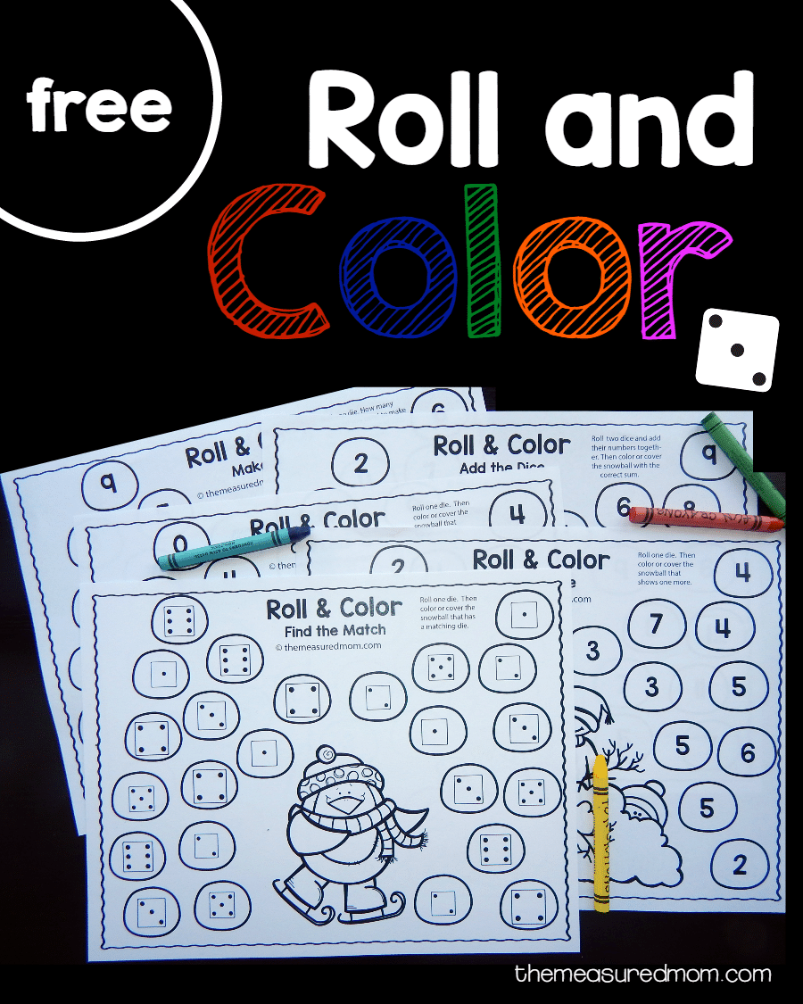 Free Winter Roll And Color Games The Measured Mom