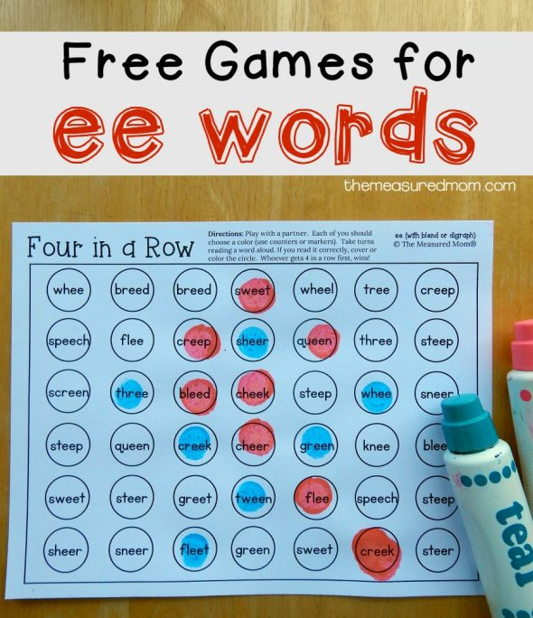 Free no prep games for ee words!
