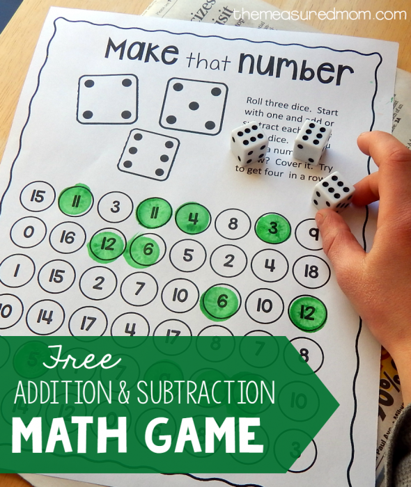Free addition and subtraction game - The Measured Mom