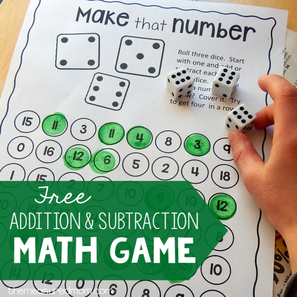 addition and subtraction math game square image