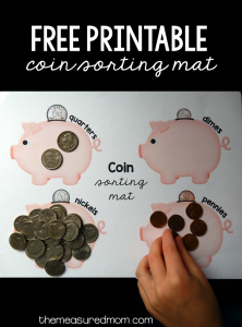 Free printable for learning coins