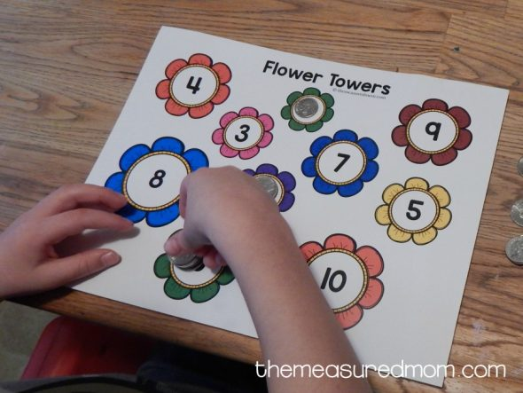 My preschooler really liked this spring math activity. Love that he got some awesome counting practice in fewer than ten minutes!