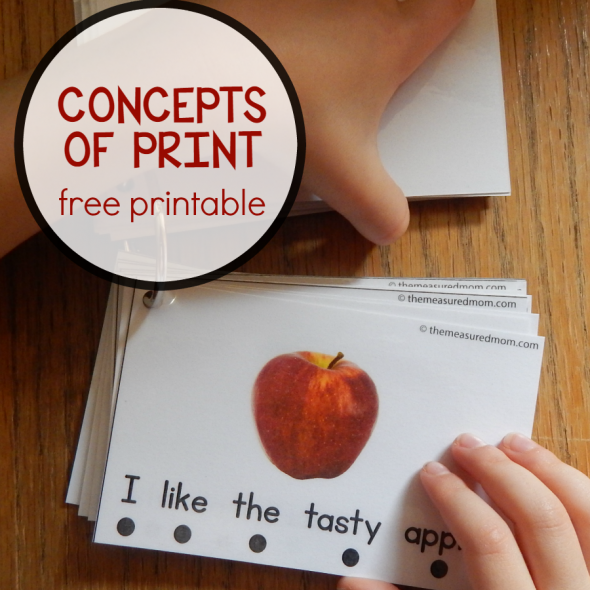 These free printable cards are great for teaching concepts of print! And when you print, cut apart, and put on a metal ring, they're easy to store and use.