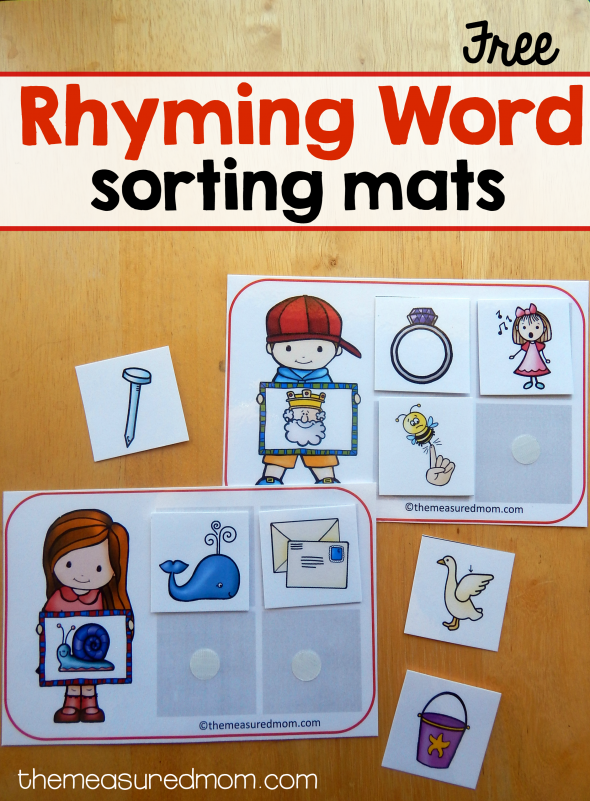 picture about Printable Word Sorts called 14 Totally free sorting mats for rhyming text - The Calculated Mother