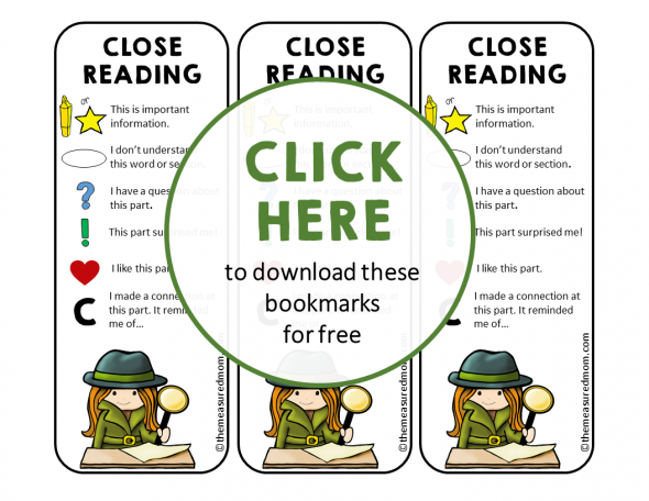 Close reading bookmarks image