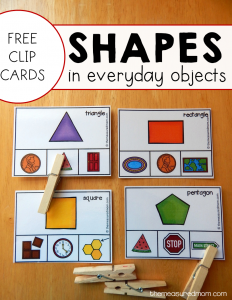 Free activity for finding shapes in everyday objects