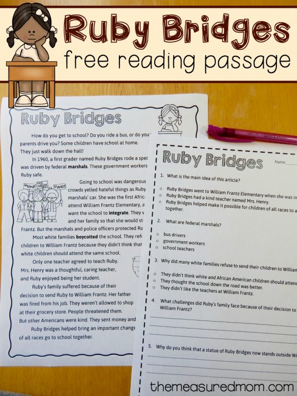 Free reading comprehension passage A Ruby Bridges worksheet The – Free Reading Comprehension Worksheets
