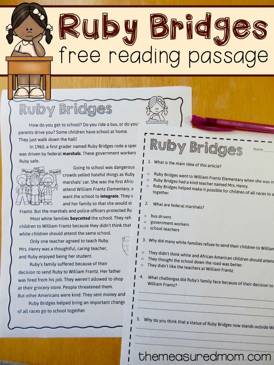 worksheet Ruby Bridges Worksheets For Second Grade free reading comprehension passage a ruby bridges worksheet the measured mom