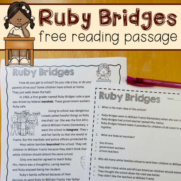 {Free reading comprehension passage A Ruby Bridges worksheet The – Ruby Bridges Worksheet