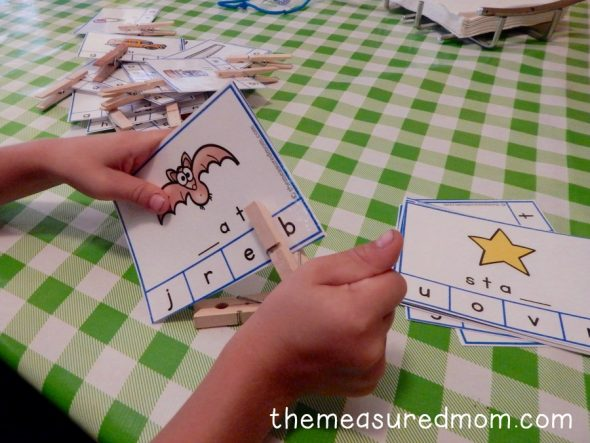 These missing letter cards are a great way for kids to hear and identify sounds in words!