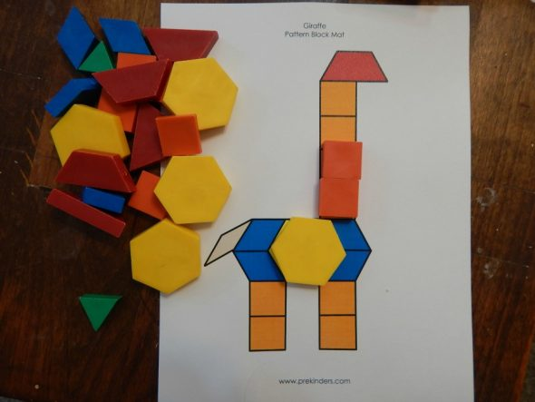 Print a free pattern block mat from Prekinders and have some fun! (click on the image above to get to the mats)