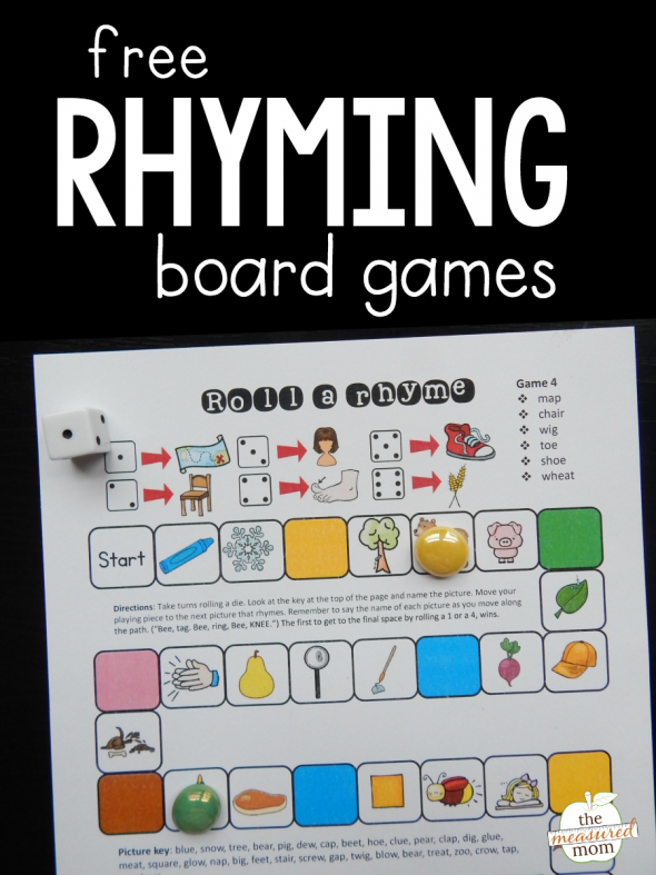 Grab this set of four rhyming words games for practice with this important skill!